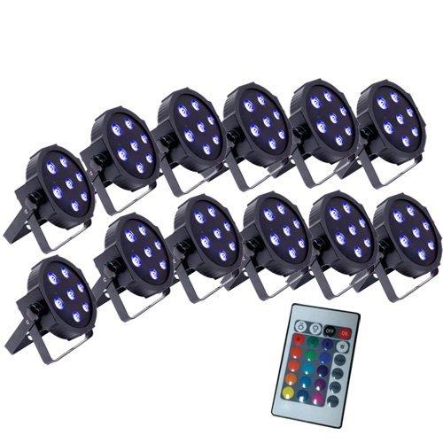 Up-Lighting System - 12 FlatPar Quad Color 7 x 10 watt RGBW Up Lights w/Easy ...