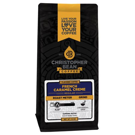 French Caramel Crème Flavored Decaf Ground Coffee, 12 Ounce Bag