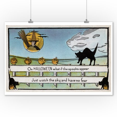 Halloween Greeting - Cat on Fence (9x12 Art Print, Wall Decor Travel Poster) - Halloween Cat Clip Art
