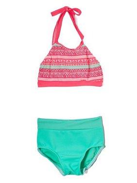 Elliewear Girls Coral Aztec Tribal Crop Top Brief 2 Pc Dance Set