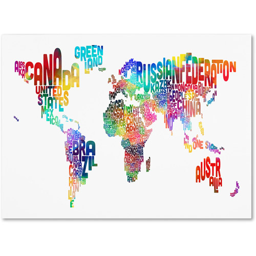 Trademark Art 'World Text Map' Canvas Art by Michael Tompsett