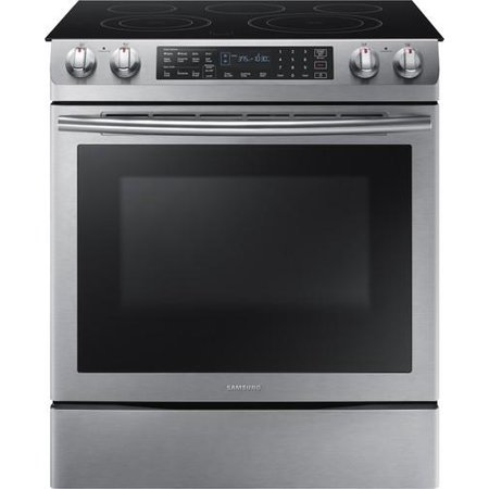 NE58K9430SS 30 Slide-In Smooth Top Electric Range with 5.8 cu. ft. Oven Capacity  Intuitive Glass Touch Control  Self Cleaning and Dual Convection system in Stainless Steel