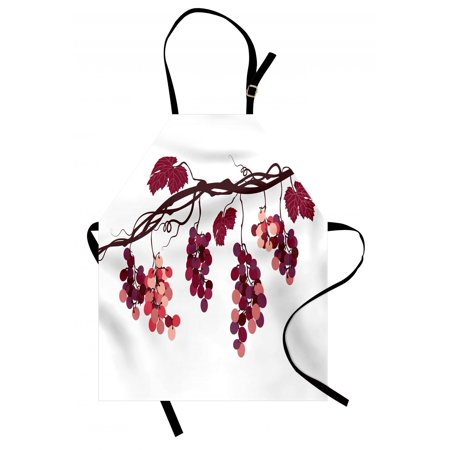 Food Service Aprons - Fruit Apron Vine Branch with Colorful Grapes Agriculture Themed Illustration Healthy Food Options, Unisex Kitchen Bib Apron with Adjustable Neck for Cooking Baking Gardening, Multicolor, by Ambesonne