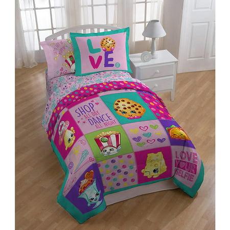 shopkins patchwork girls twin comforter sheet set bonus sham 5 piece bed in a bag. Black Bedroom Furniture Sets. Home Design Ideas