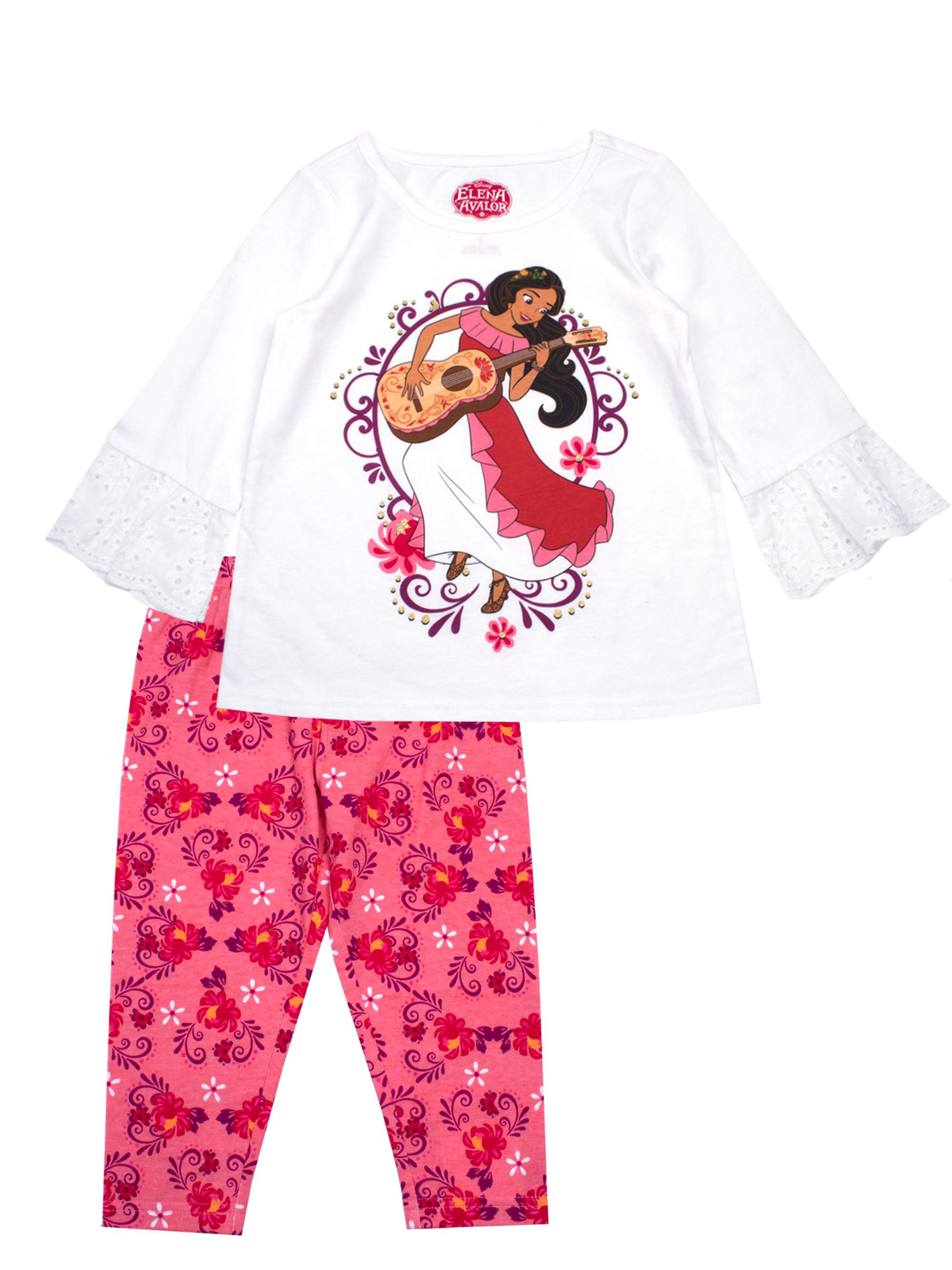Elena Eyelet Sleeve Top and Legging, 2-Piece Outfit Set (Little Girls)