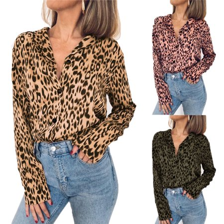 30d4ac07997771 Vista - Autumn Fashion Leopard Print Blouse Long Sleeve Women Casual Loose Chiffon  Shirts - Walmart.com