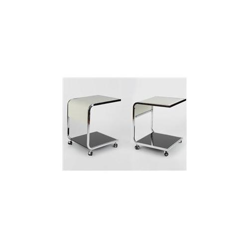 Whiteline ST1052L-WHT Jay Side Table Off White Crocodile Leather Top Chrome Frame . 38 inch Black Tempered Glass Top