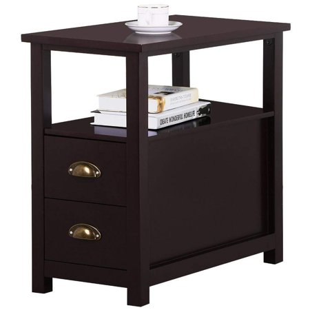 UBesGoo End Table Shelf Narrow Nightstand Side Chair Living Room Furniture Brown