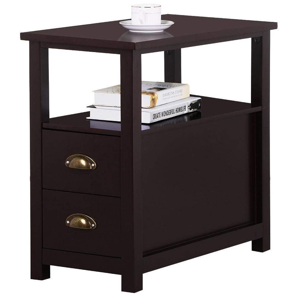 UBesGoo End Table Shelf Narrow Nightstand Side Chair Living Room Furniture Brown