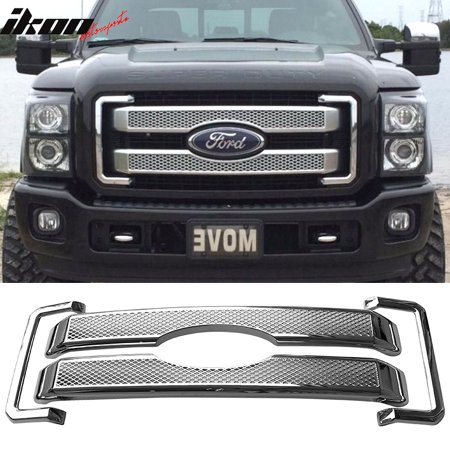 Chrome Trunk Molding (Fits 11-16 Ford F250 350 450 Super Duty Platinum Style Moulding Front Mesh Grill )