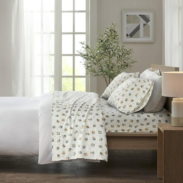 Comfort Classics Cozy Flannel 100 Cotton Sheet Set Sand Owls Queen Walmart Com Walmart Com