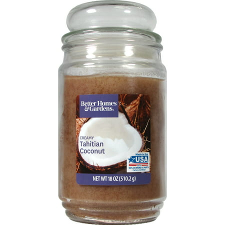 Better Homes & Gardens Tahitian Coconut Single-Wick 18 oz. Jar Candle 15 Oz Scented Candle