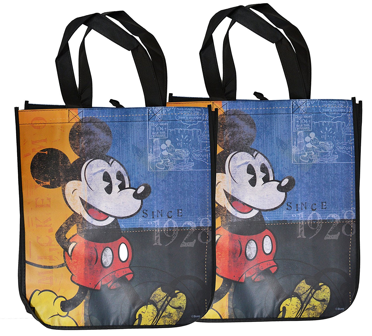 3bc57f4000 Mickey Mouse - Mickey Mouse Reusable Grocery Tote Bags Set of 3 -  Walmart.com
