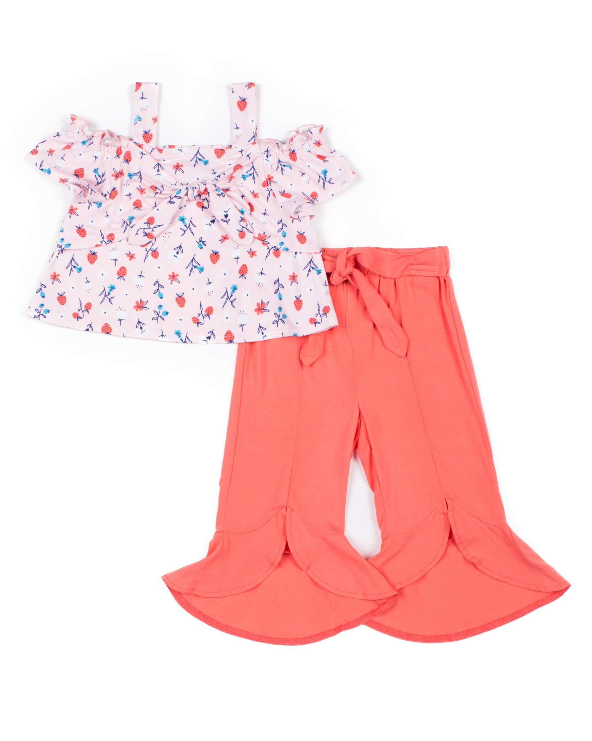 Cold Shoulder Floral Top and Gauze Culotte, 2-Piece Outfit Set (Little Girls)