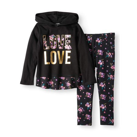 Hoodie & Printed Jeggings, 2pc Outfit Set (Toddler Girls) - Elf Outfits For Toddlers