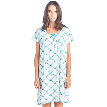 Casual Nights Women's Cotton Short Sleeve Nightgown Sleep Shirt