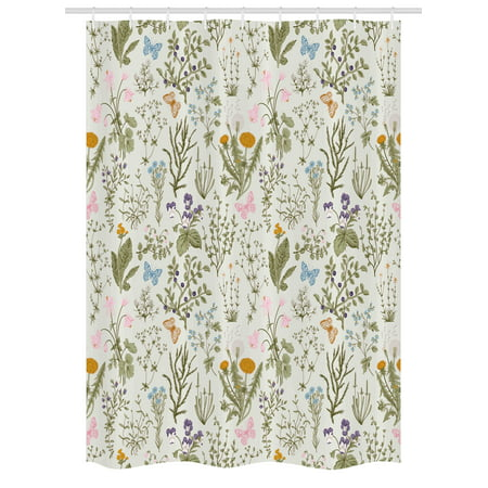 Floral Stall Shower Curtain Vintage Garden Plants With Herbs Flowers Botanical Classic Design Fabric