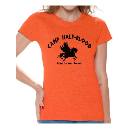 Awkward Styles Mythology Lovers Camp Half-Blood Women T Shirt Camp Half Blood Shirt for Ladies Geek Tshirt Mystical T Shirt for Ladies Geek T-Shirt for Girlfriend Camp Half-Blood Women Clothing Geek Pink T-shirt
