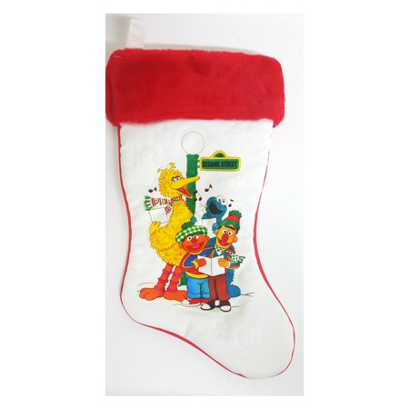 1980's Vintage Sesame Street Christmas Stocking 1982 Muppets Big Bird Bert Ernie - Vintage Christmas Stockings
