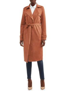 Heart N Crush Women's Faux Suede Trench Coat