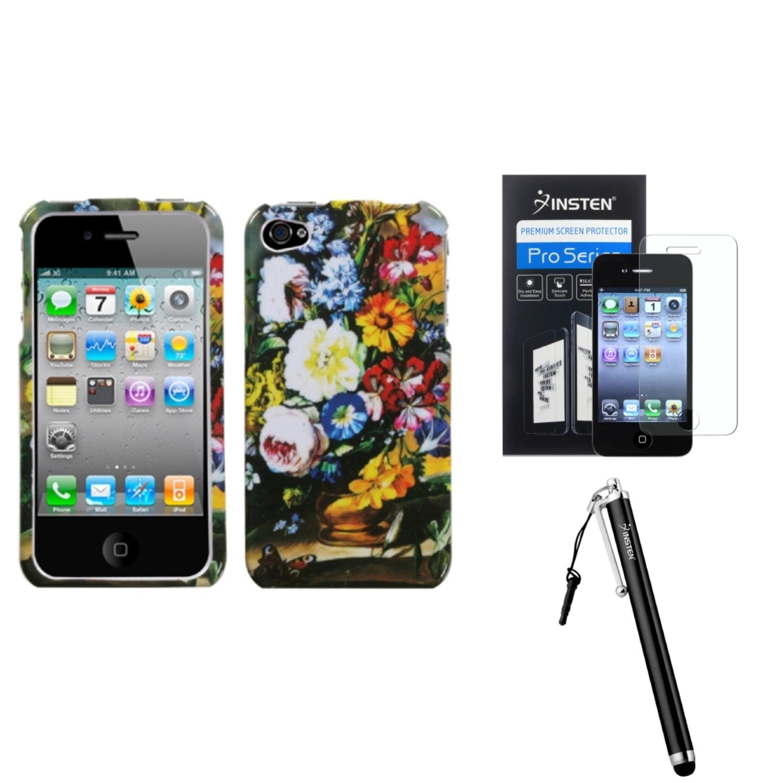 Insten Blumenstilleben Phone Case For iPhone 4 4S + Stylus + Screen Protector