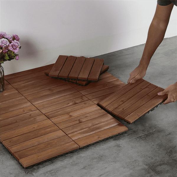 Renewed Topeakmart 27PCS Patio Pavers Decking Flooring Deck Patio Tiles Interlocking Wood Tiles Patio Garden Deck Poolside Indoor Outdoor 12 x 12in