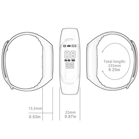 Waterproof Pedometer M3 Smart Bracelet Message Remind health Monitoring Watch - image 4 de 5