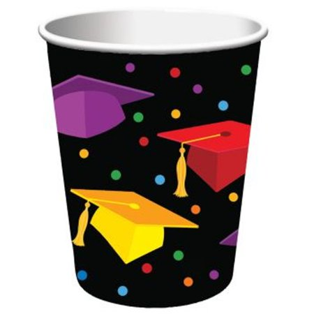 Graduation Fest 9 oz Paper hot cold Cups 18 ct