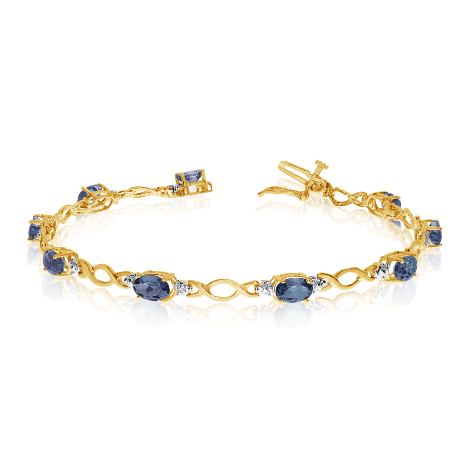 10K Yellow Gold Oval Sapphire and Diamond Bracelet by LCD