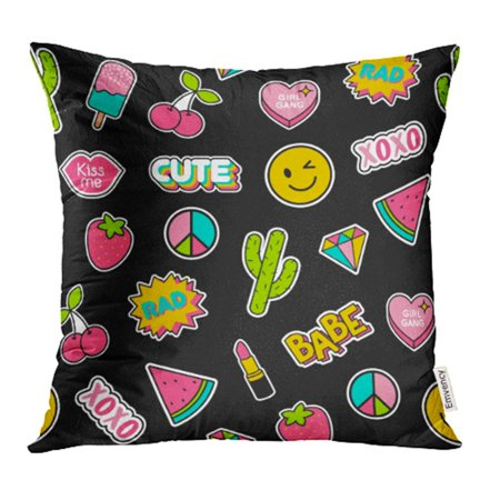 YWOTA Patch Colorful Cute Girls Patches Cool Diamond Doodle Pop Babe Badge Cactus Pillow Cases Cushion Cover 16x16 inch - Cool Doodles