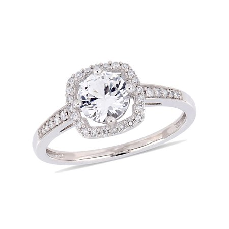 1.00 Carat (ctw) Lab Created White Sapphire Halo Engagement Ring in 10K White Gold with