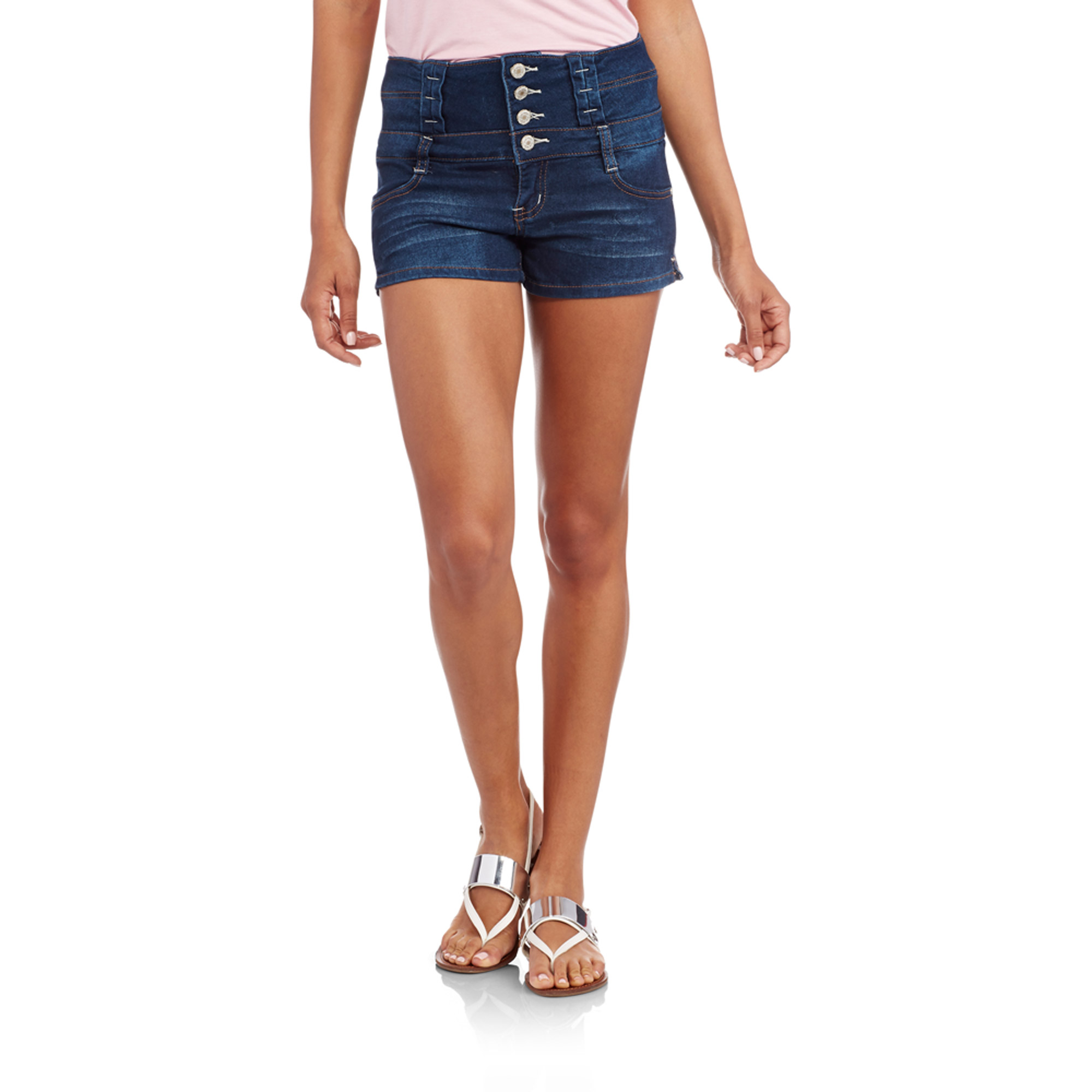 Almost Famous Juniors' 4 Button Hi Waisted Knit Denim Shorts