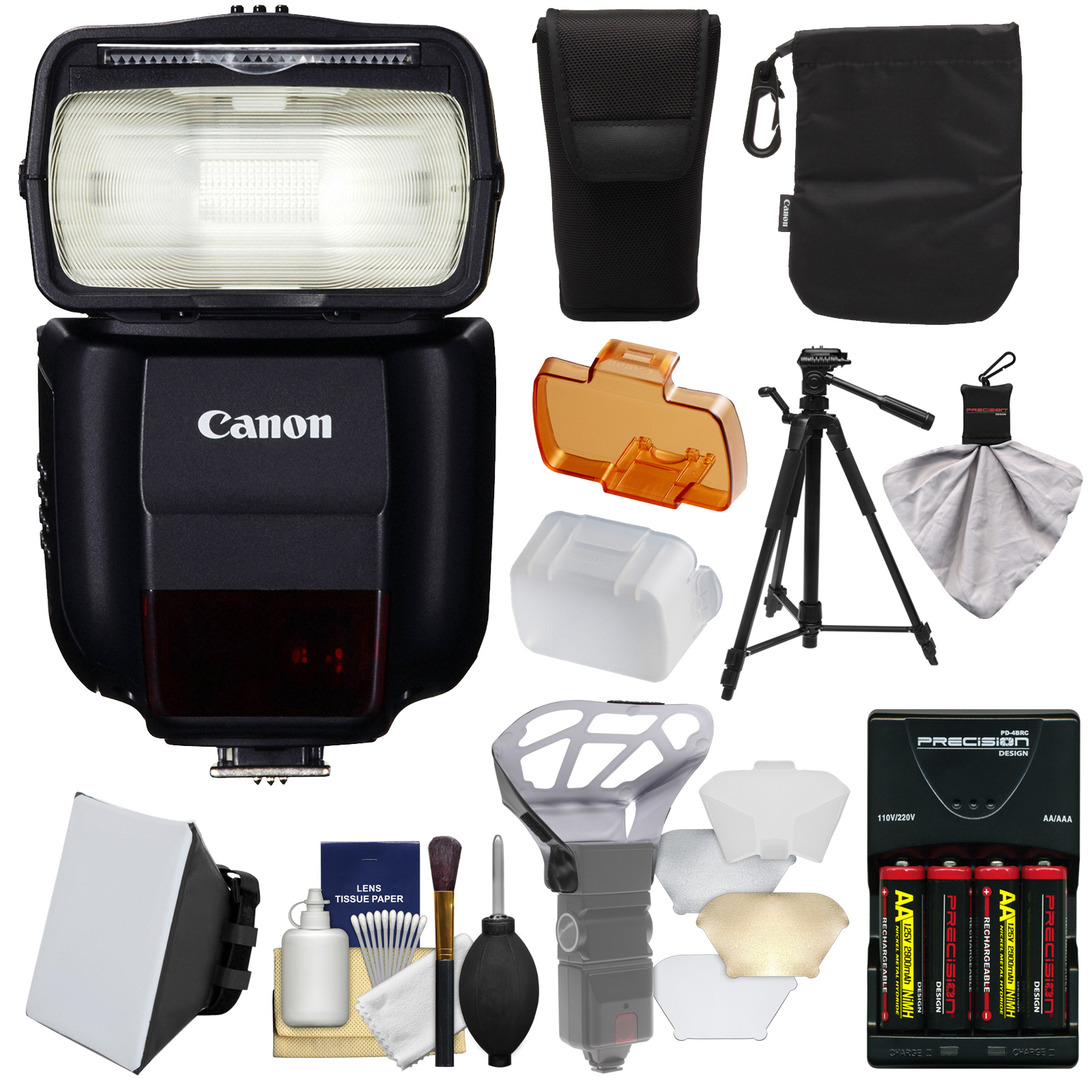 Canon Speedlite 430EX III-RT Flash with Softbox + Bounce Diffuser + Batteries & Charger + Tripod + Kit for Rebel T5, T5i, T6i, T6s, EOS 70D, 7D, 6D, 5D Mark II III, 5Ds R