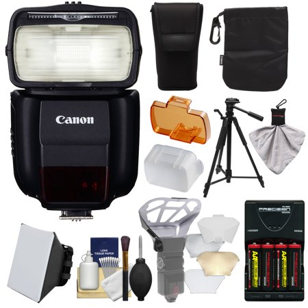 Canon Speedlite 430EX III-RT Flash with Softbox + Bounce Diffuser + Batteries/Charger + Tripod Kit for Rebel T6, T6i, T7i, T6s, EOS 77D, 80D, 7D, 6D, 5D Mark II III IV, 5Ds R