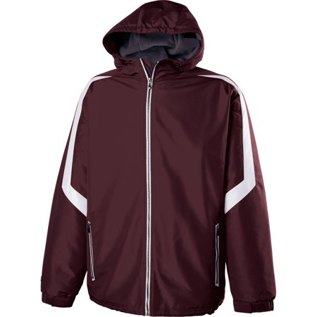 A Product of Holloway Adult Polyester Full Zip Charger Jacket - MAROON/ WHITE - S