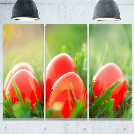 DESIGN ART Designart - Red Easter Eggs in Green Grass - Landscape Photo Glossy Metal Wall Art - 36 in. wide x 28 in. high - 3 - Red Easter Grass