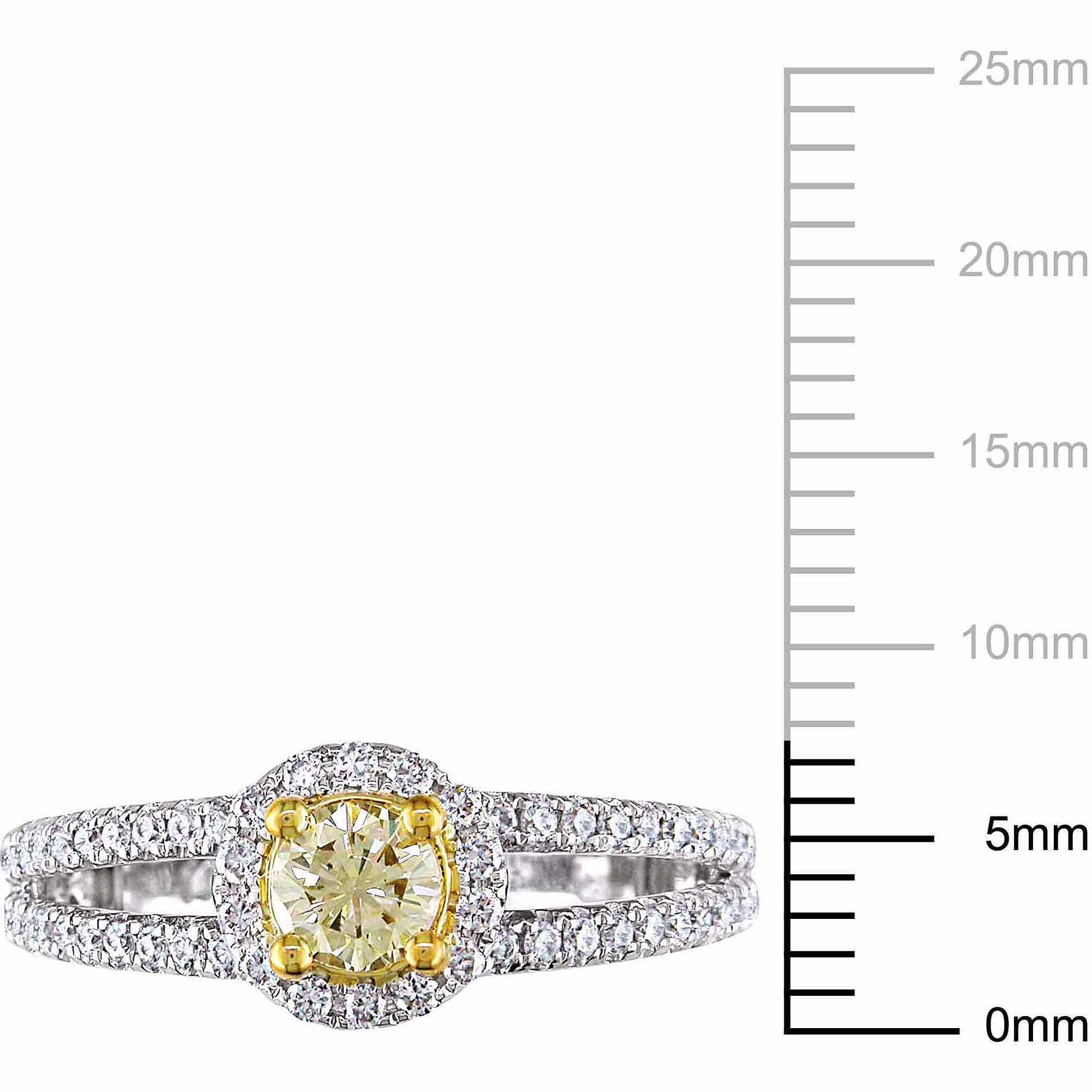 1 Carat T.W. Round-cut Yellow and White Diamond 14kt White Gold Halo Engagement Ring by Generic
