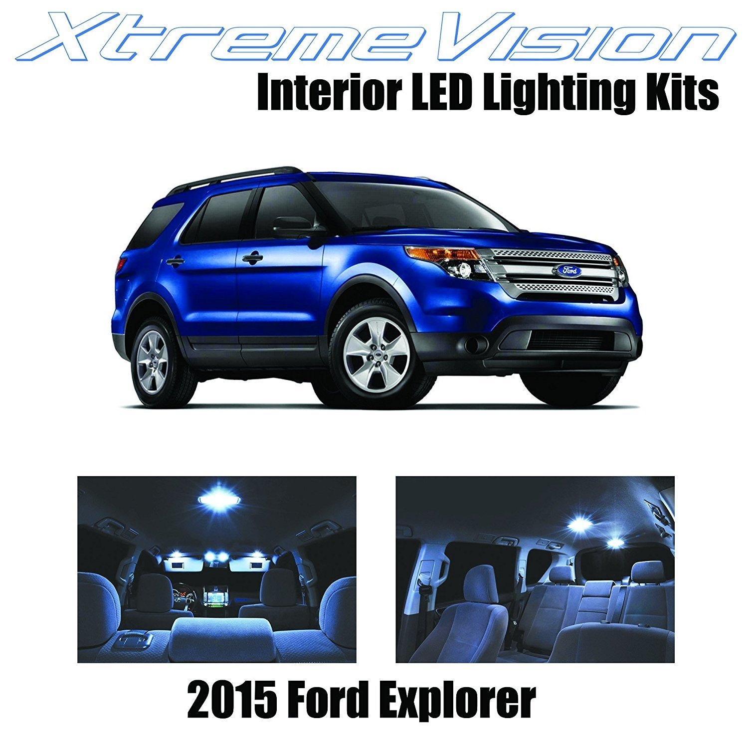 XtremeVision LED for Ford Explorer 2015+ (11 Pieces) Cool White Premium Interior LED Kit Package + Installation Tool