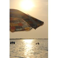 Canvas Print Summer Beach Umbrella Sun Beach Sea Sunset Stretched Canvas 10 x 14
