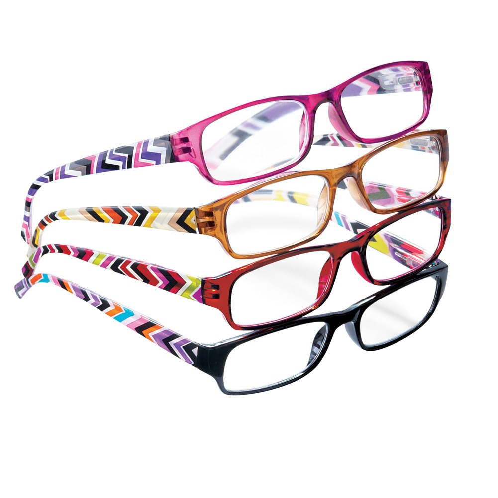 4-Pc Reader Glasses with Multicolor Geometric Arms with Precision-Crafted Lenses, 3.0X, Multicolored