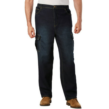 KingSize Men's Big & Tall Relaxed Fit Cargo Denim Sweatpants Jeans
