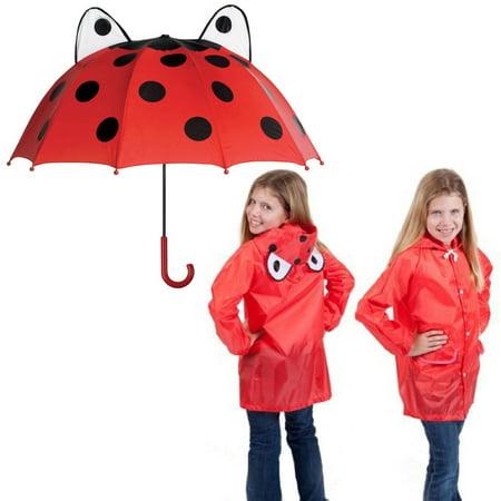 Ladybug Kids Rainy Day Umbrella with Children's Lady Bug Raincoat