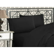 Elegant Comfort Luxury 2-Piece Pillowcases Silky-Soft Wrinkle Resistant - Standard Size, Black