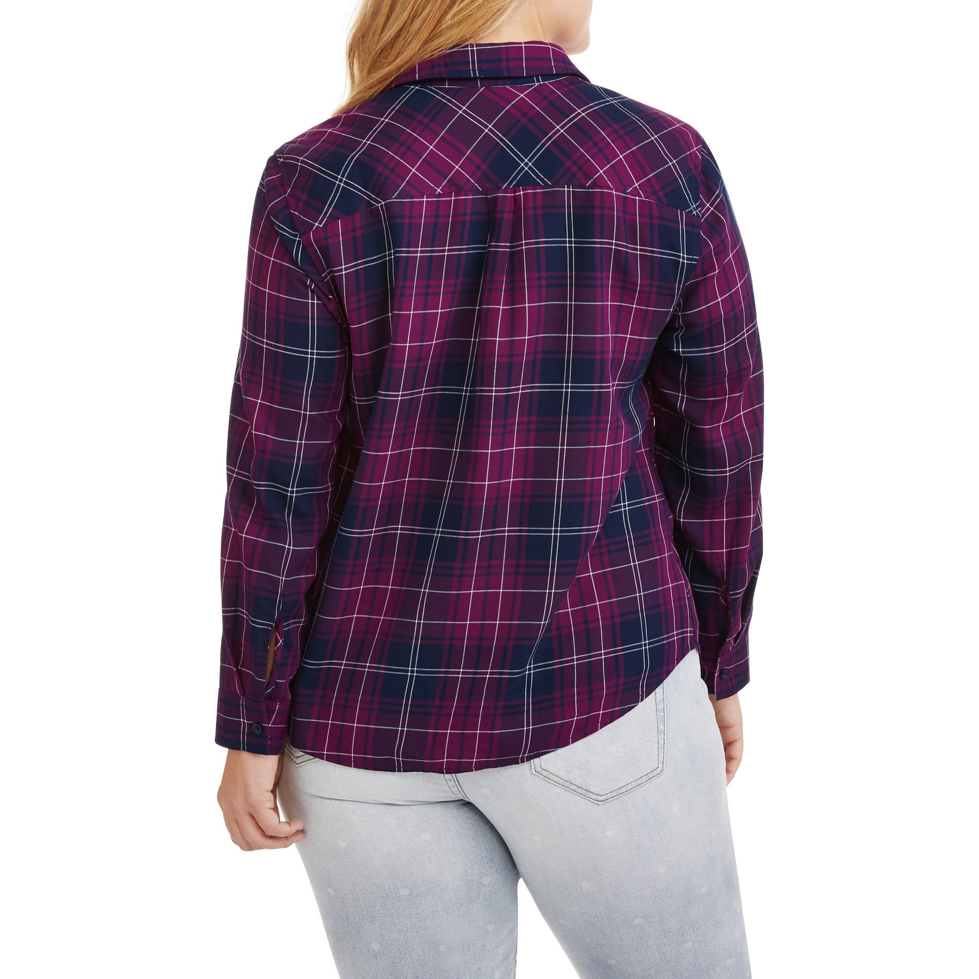 Faded Glory Women's Plaid Button Front Shirt