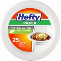 Hefty Microwavable Paper Bowls, 16 Oz, 25 Count