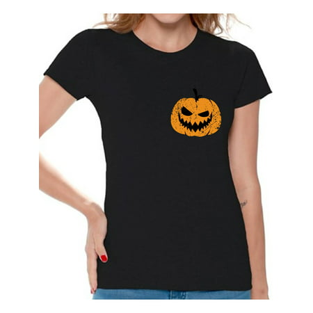 Halloween Pumpkin Faces Easy (Awkward Styles Jack O'Lantern Pumpkin Shirt for Ladies Halloween Pumpkin Pocket Shirt for Women Spooky Pumpkin Face Tee Cute and Easy Pumpkin Halloween Costume for)