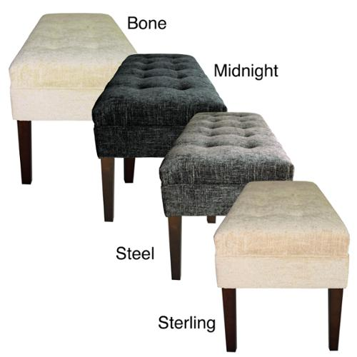 MJL Furniture Kaya Diamond Tufted Atlas Upholstered Long Bench Midnight