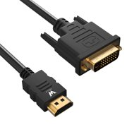 HDMI to DVI, WOLLZ CL3 6ft Bi-Directional DVI to HDMI Cable Supports 1080P (Black)