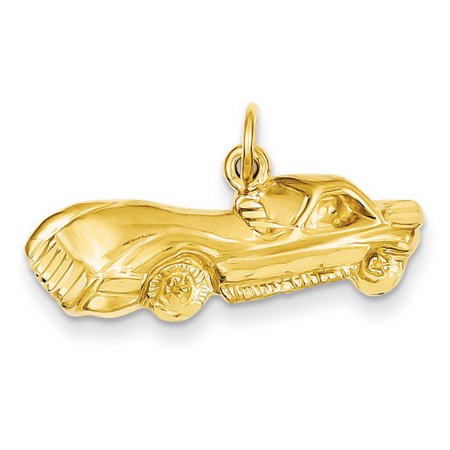 14k Yellow Gold Solid Satin Sparkle-Cut Sports Car Charm - 3.1 Grams - Measures