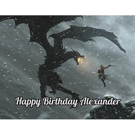Skyrim Dragon Edible Image Photo Cake Topper Sheet Personalized Custom Customized Birthday Party - 1/4 Sheet - 78554](Dragon Cake Topper)
